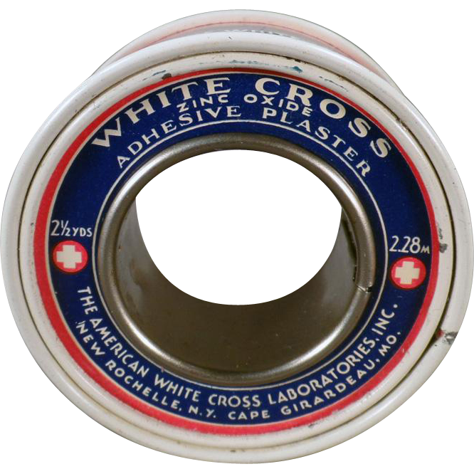 Vintage White Cross, Zinc Oxide Adhesive Plaster Tin