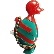 Vintage Puzzle Key Chain - Colorful Comical Duck