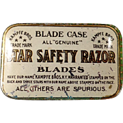 Vintage Razor Blade Case -  Star Safety Razor - Tin for Wedge Blades