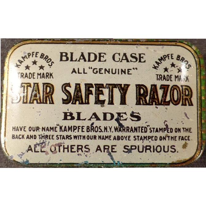 Vintage Razor Blade Case -  Star Safety Razor - Tin for Wedge Blades