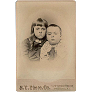 Vintage Cabinet Card Photograph - Young Boy & Girl