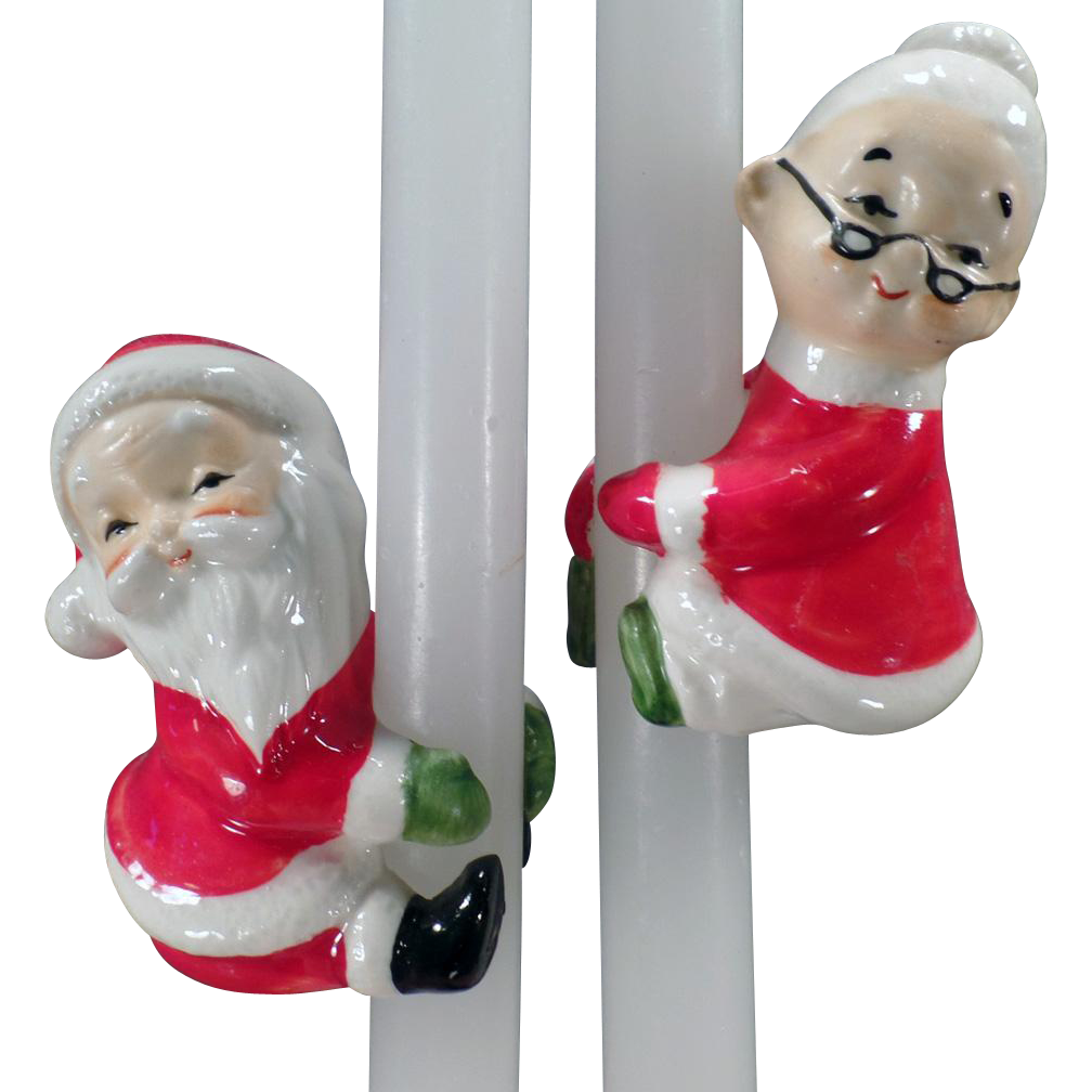 Vintage Christmas Candle Climbers - Santa & Mrs. Claus