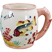 Child's Vintage Milk Cup with a Fish Design