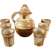 Vintage Frankoma Set - Guernsey Juice Pitcher with Six Matching Juice Cups