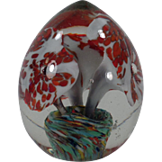 Vintage Glass Paperweight - Egg Shape with Floral Design