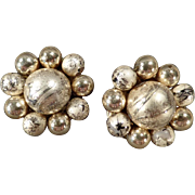 Old Clip-On Earrings - Gold-Tone Beads - Japan, 1950's