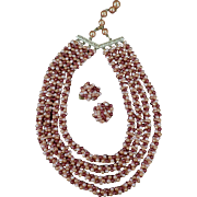 Vintage, Multi-Strand Bead Necklace with Matching Earrings