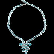 Vintage Rhinestone Necklace with Vibrant Turquoise, Aquamarine Color