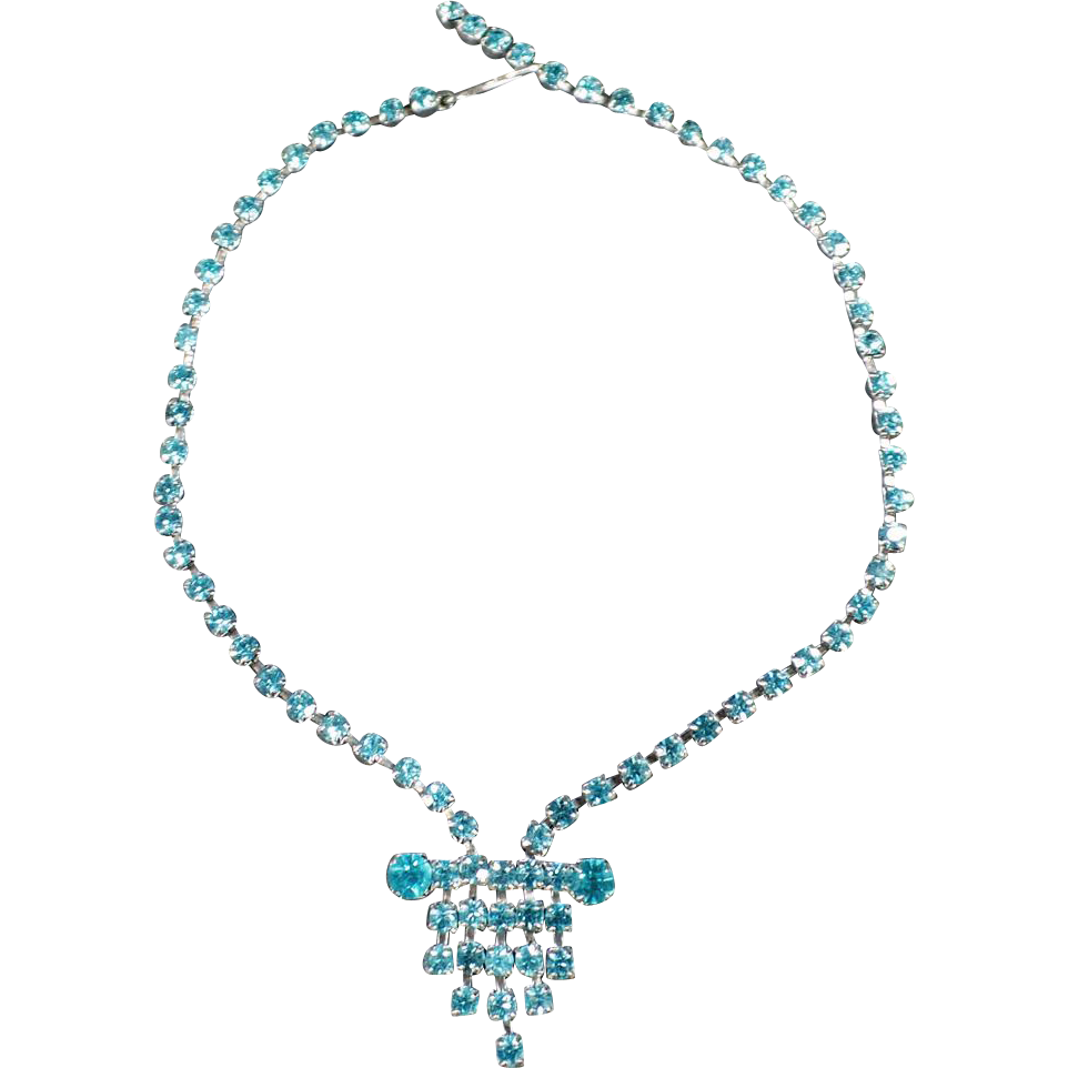 Vintage Rhinestone Necklace with Vibrant Turquoise, Aquamarine Color