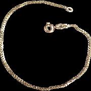 "Estate Jewelry - 14k Gold 7 1/2"" Chain Bracelet - Dainty Box Link"