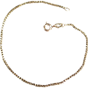 "Estate Jewelry - 14k Gold 7 1/2"" Chain Bracelet - Dainty Box Link"