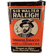 Vintage Tobacco Tin -  Sir Walter Raleigh Vertical Pocket Tin
