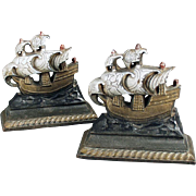 Vintage Bookends - Cast Iron Masted Sailing Ships