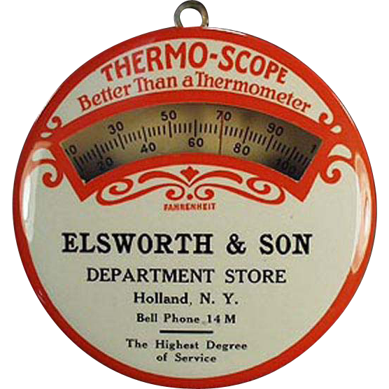 Vintage Advertising Thermometer - Celluloid - Elsworth Department Store of New York