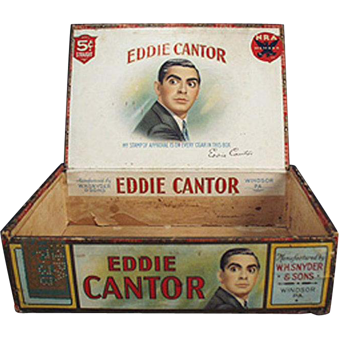 Vintage Cigar Box - Eddie Cantor Cigars - Wooden Cigar Box