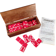 Vintage Set of Red Crisloid Dominoes - Double Six Set with Cribbage Board Box