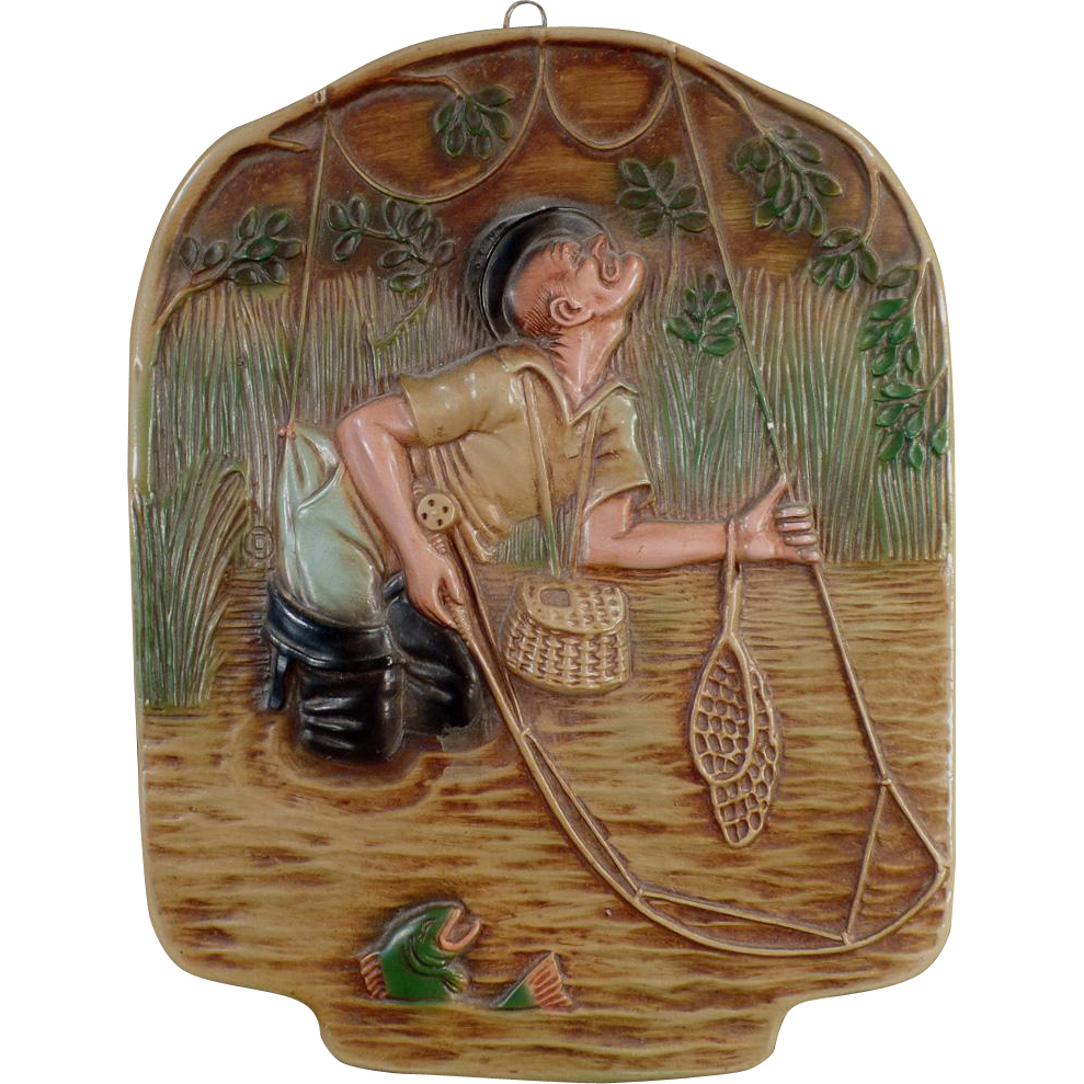 Vintage Chalk Wall Hanging - Clever Fisherman in a Fly-Fishing Scene