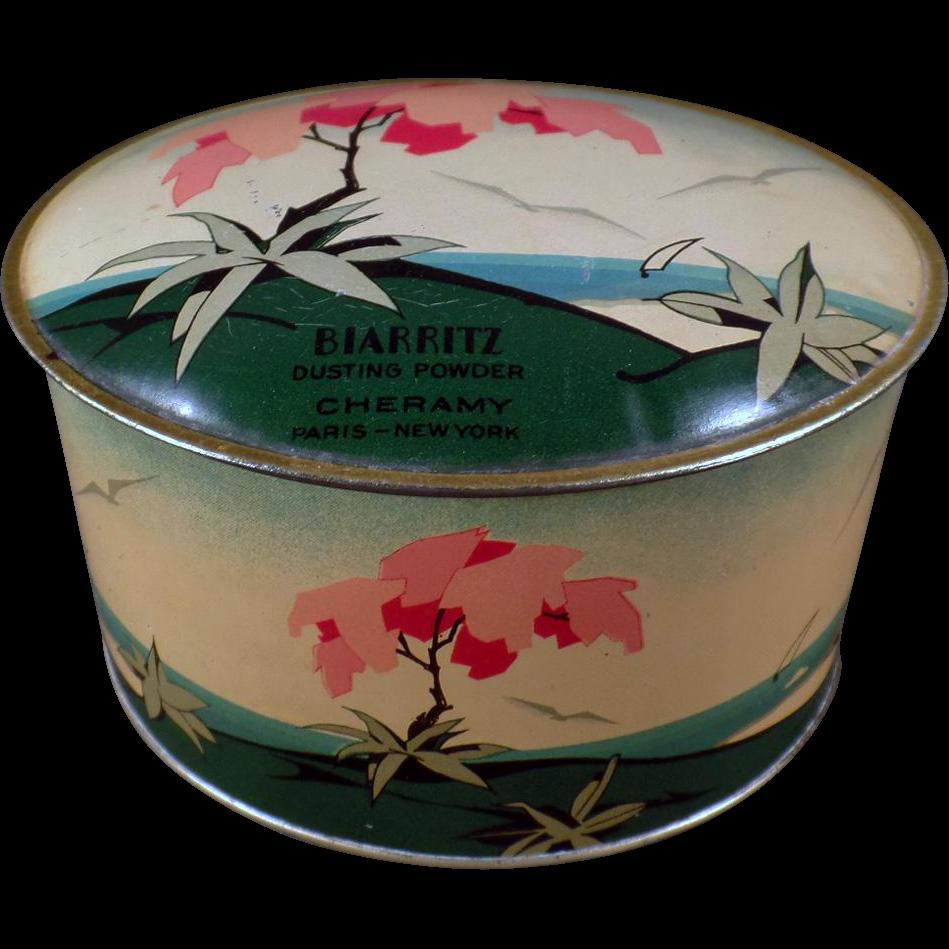 Vintage Talc Tin - Cheramy Biarritz Dusting Powder