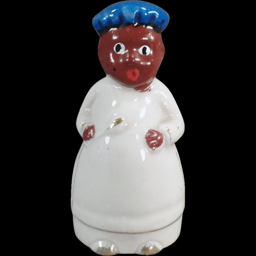 Vintage Black Memorabilia - Small Black Chef - Old Porcelain Bell