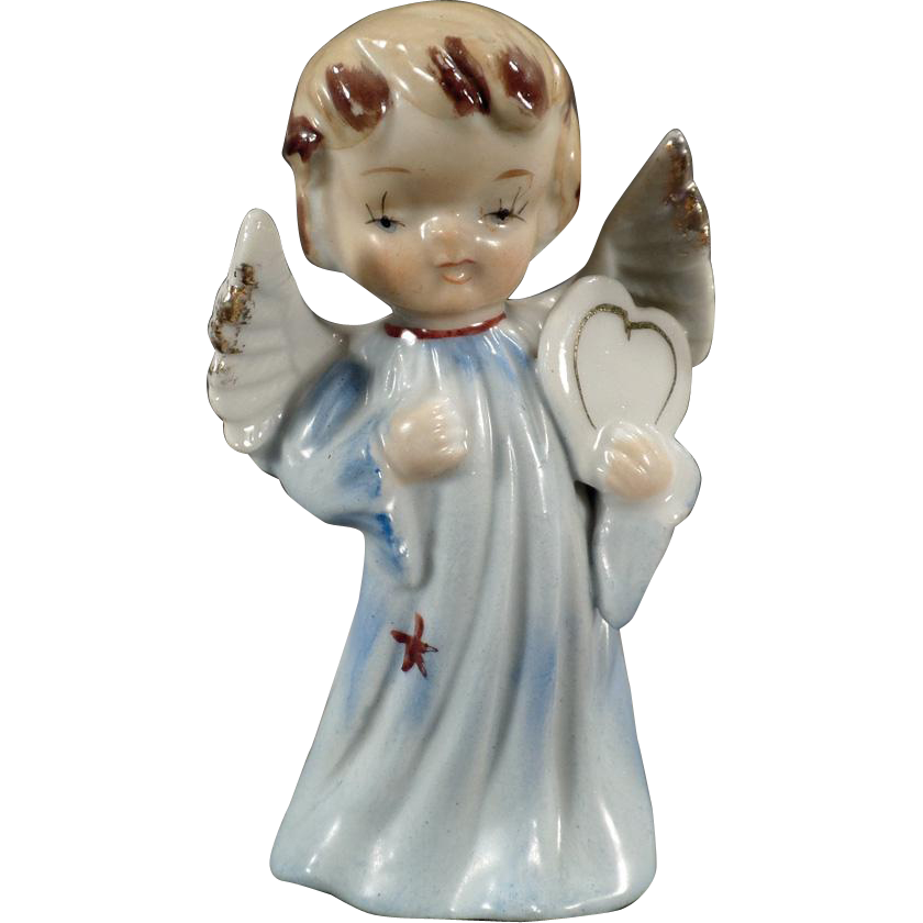 Vintage Porcelain Angel Figurine - Sweet Blonde Angel with Heart