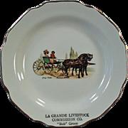 Vintage Souvenir Plate - La Grande Livestock Commission - Bob Green