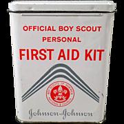 Vintage Johnson & Johnson Boy Scout First Aid Kit - Bandage Tin