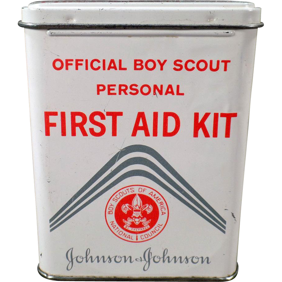 Vintage Johnson & Johnson Boy Scout First Aid Kit - Bandage Tin