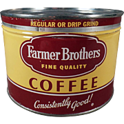 Vintage Coffee Tin - Farmer Brothers - 1# Keywind Tin
