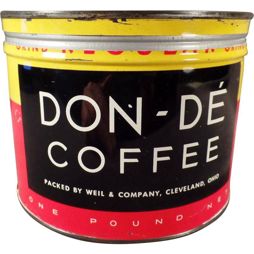 Vintage Coffee Tin - Don-De - 1# Keywind Tin from Weil & Co. of Cleveland Ohio