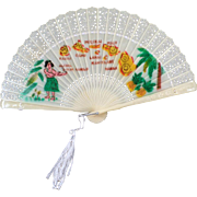 Vintage Hawaiian Souvenir  - Folding Fan Made in Hong Kong