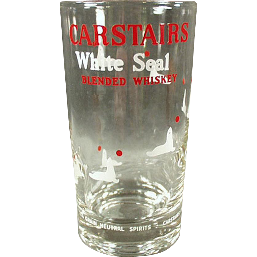 Vintage Advertising Glass - Carstairs White Seal - 4 Available