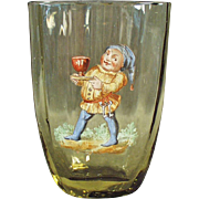 Vintage Cider Glass with Painted Enamel Elf Design