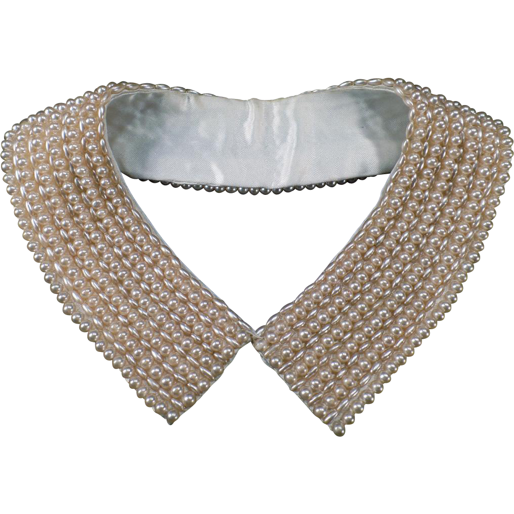 Vintage Neckline Enhancement - Faux Pearl Collar - Two Different Bead Shapes
