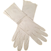 Vintage, Leather Gloves - Off White - Mid Length