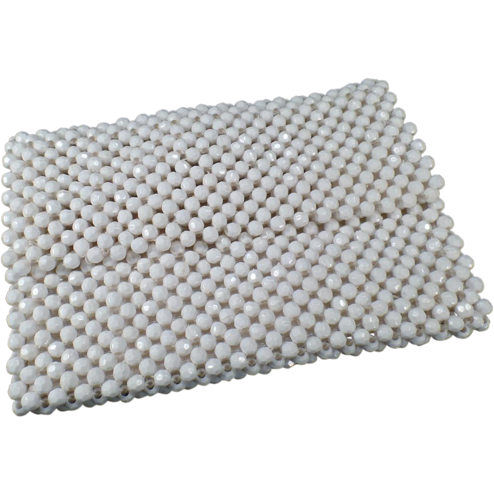 Vintage, White Bead Handbag Clutch from Italy - 1970's