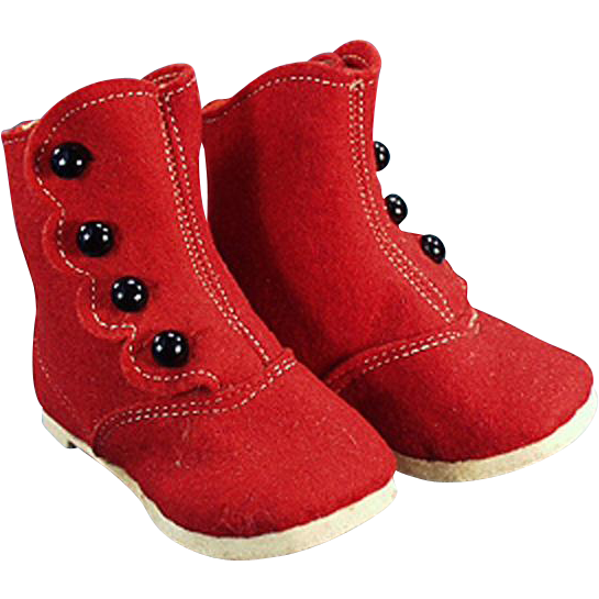 Vintage High Button Baby Shoes - Red Felt & Black Buttons - Original Label on Bottom