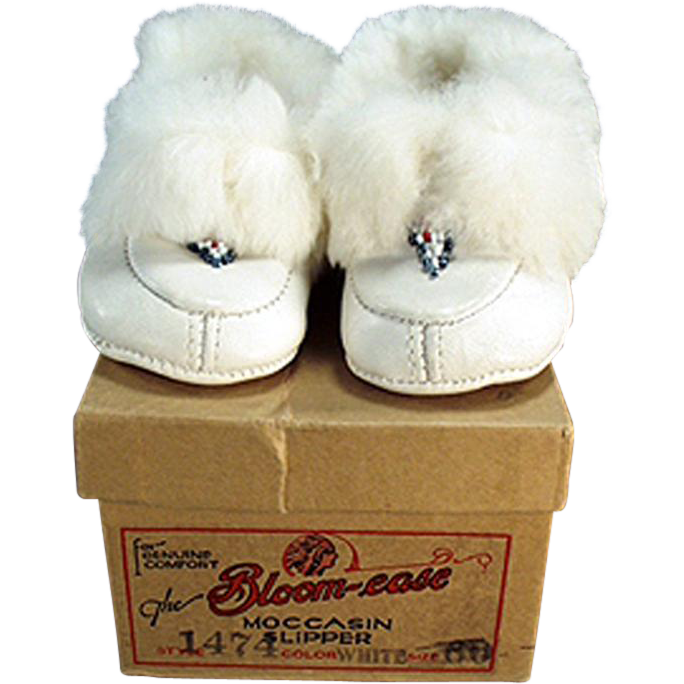 Vintage, White Leather Moccasins for a Little Girl - Original Bloom-ease Box