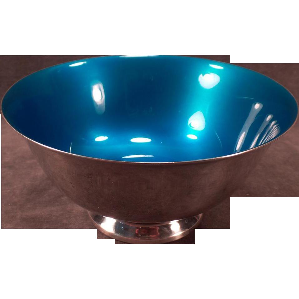 Vintage Reed & Barton - #102 Blue Enamel Candy Bowl