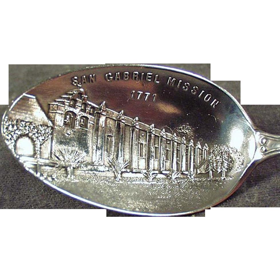 Vintage Souvenir Spoon - San Gabriel Mission - Sterling Silver