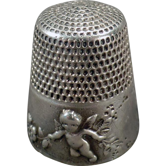 Vintage Sterling Thimble - Ornate Design with Cherubs - Simons Bros.