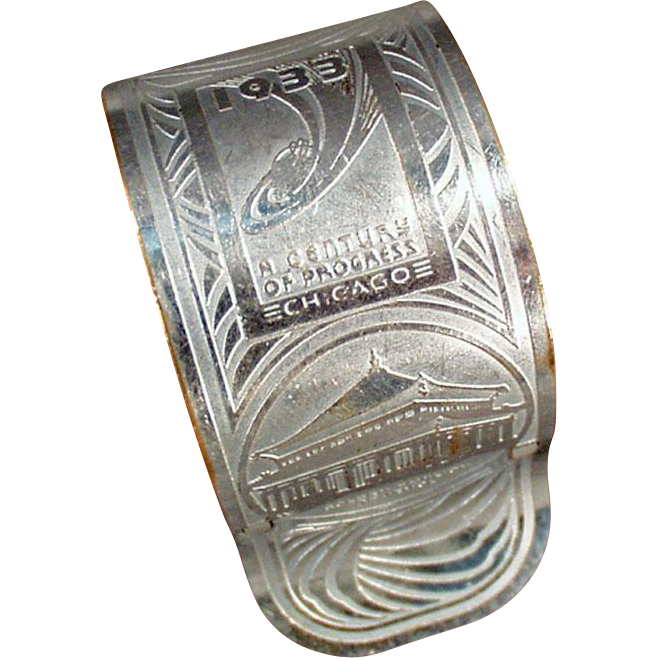 Vintage Souvenir Napkin Ring - Chicago 1933 Century of Progress