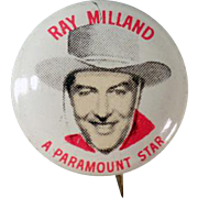 Vintage Pinback Button - Quaker Cereals - Ray Milland