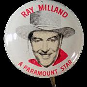 Vintage Pinback Button - Quaker Cereals - Ray Milland