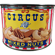 Vintage Circus Mixed Nuts Tin with Party Mix Recipe