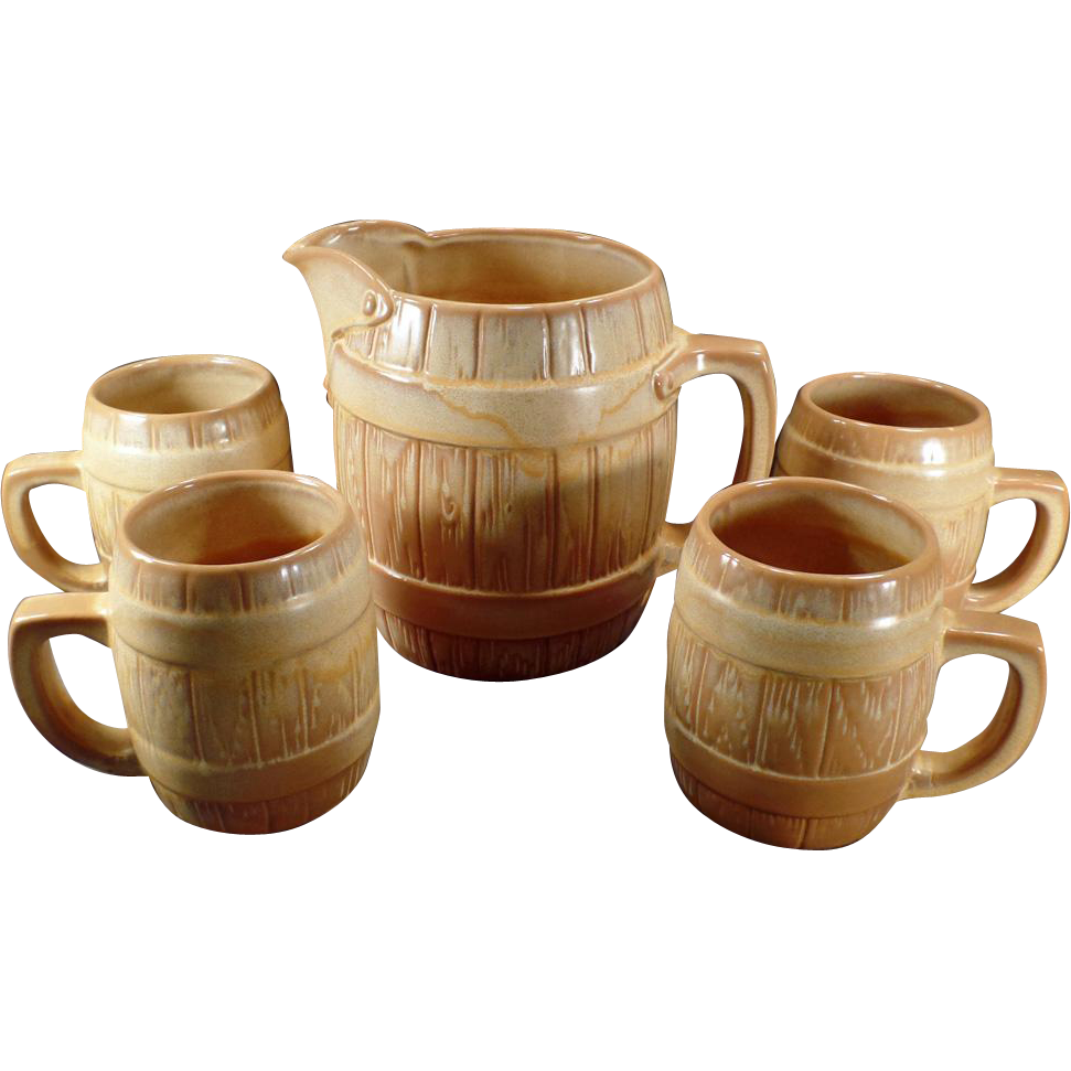 Vintage Frankoma Barrel Set - 65oz Pitcher & 4 Matching Mugs