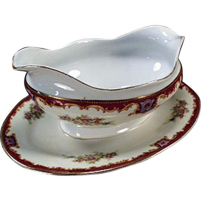 Vintage Gravy Boat with Attached Drip Tray - Decorative China
