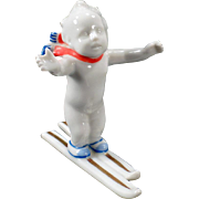 Vintage, White Porcelain Skiing Baby