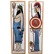 Old Hand Painted Ceramic Art Tiles - Poseidon and Athena