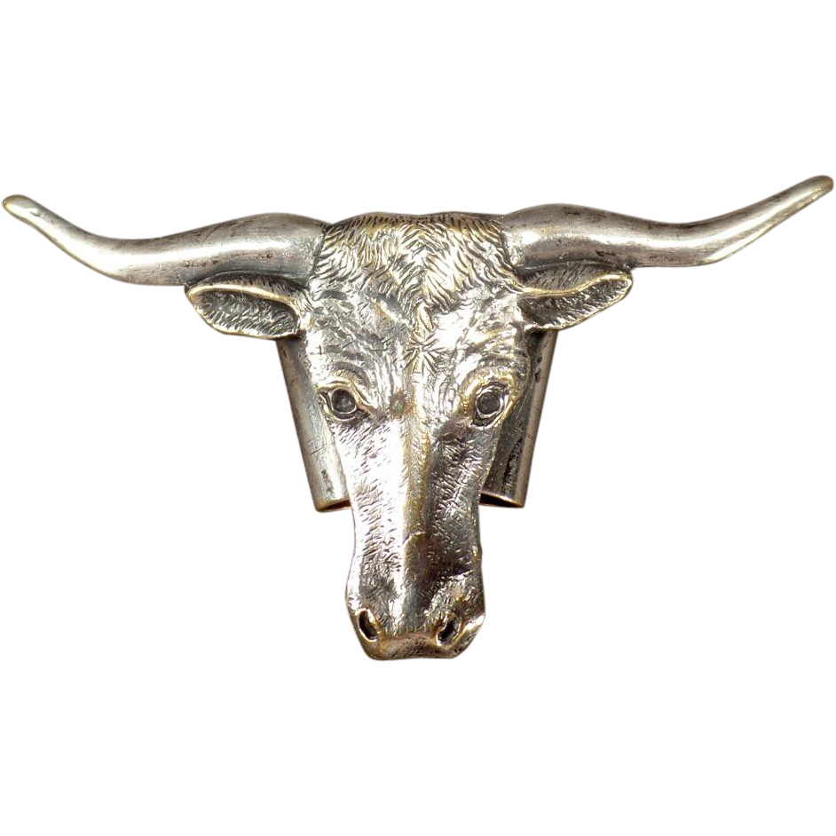 Vintage Neckerchief Slide - Longhorn Steer Head