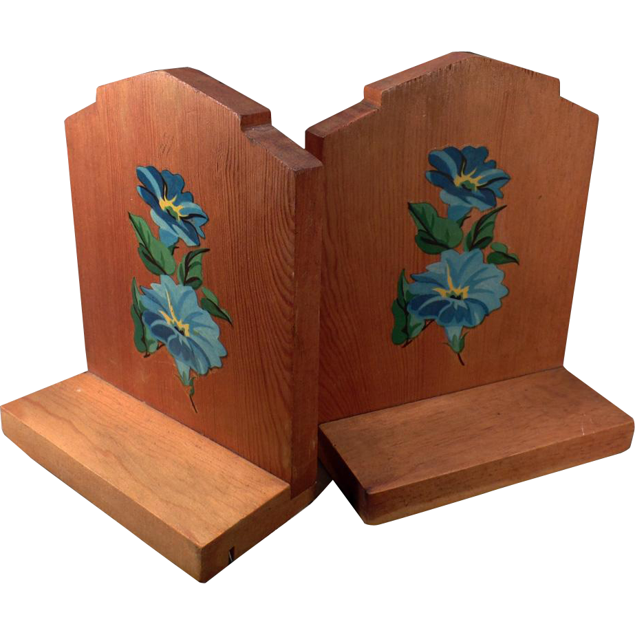 Vintage Bookends - Wood with Flower Decals - Shabby Chic Look